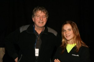 Laura Dekker en Henk de Velde in het Zeiltheater (Yvonne Ransijn - Fotobank Noord-Holland)