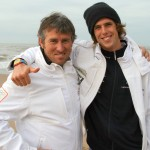 Surfer Dorian van Rijsselberge met zijn  coach Aaron McIntosch
