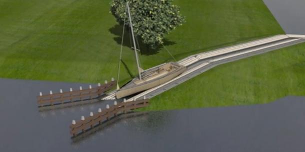 Lopende band trekt boten de dijk over