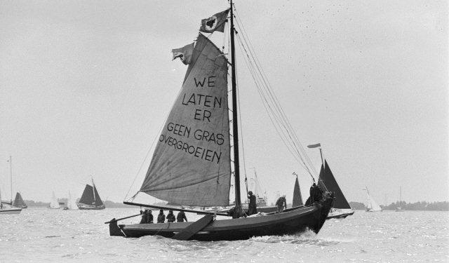 Protest tegen windmolenpark IJsselmeer