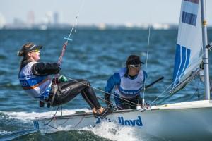 Afrodite Kyranakou en Anneloes van Veen. ISAF Sailing World Cup Miami 2015