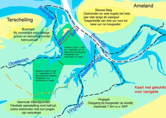 Drie vaarroutes tussen Ameland en Terschelling