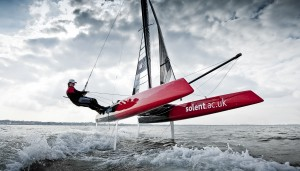Solent Whisper, foiling catamaran, designed by Ron Price.