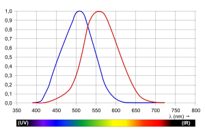 Verschil in gevoeligheid van het oog bij verschillende lichtsterkten