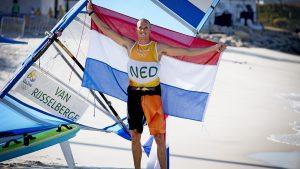 2016-08-14 20:08:36 RIO DE JANEIRO - Dorian van Rijsselberghe tijdens de laatste race RS:X tijdens de Olympische Spelen van Rio. ANP ROBIN UTRECHT