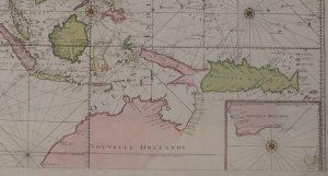 Handgekleurde kaart van Azie en Nieuw Holland uitgegeven in Amsterdam circa 1730 door J. Covens en C. Mortier.