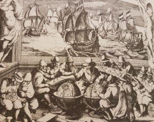 Navigatieles. Uit Willem Jansz. Blaeu 'Licht der zee-vaert'. Amsterdam 1620. Te zien zijn een astrolabium en meerdere passers