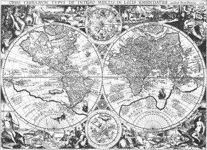 Wereldkaart door Petrus Plancius uit 1594. Uitgegeven in 1596 in Amsterdam. Het beeld illustreert dat het Zuidland grensde aan de Kapen.