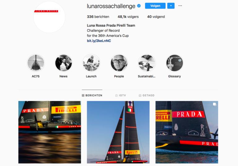 Het Instagramprofiel van Luna Rossa is zeker een bezoekje waard